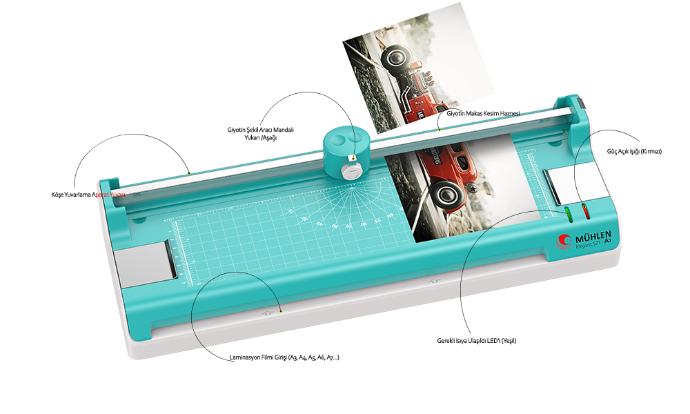 MÜHLEN Elegant 571 | Üçü Bir Arada Laminasyon Makinesi | A3 Boyutu 8