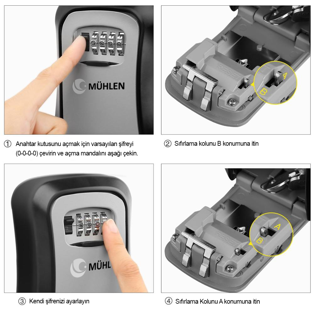 MÜHLEN Safe-Key 3 Duvara Montaj Şifreli Anahtar Saklama Kasası / Kutusu 5