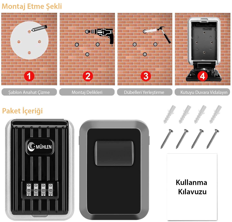 MÜHLEN Safe Key 6 Duvara Monteli Şifreli Anahtar Kasası 3